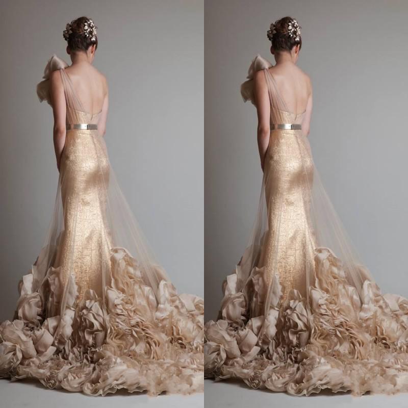 Livraison Gratuite Luxueux Sexy Or Sans Manches Une Epaule Sirène / Trompette Zuhair Murad Mariage / Mariée / Robes De Bal Avec Des Fleurs Et Ceinture