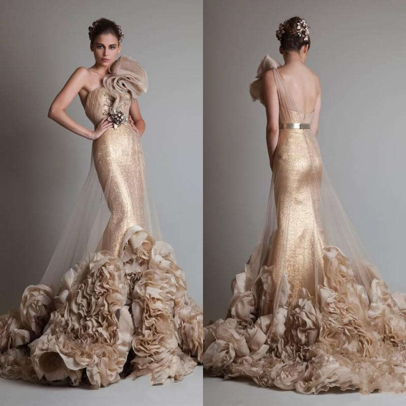 Luxurious Sexy Gold Sleeveless One Shoulder Mermaid Trumpet Zuhair Murad Wedding Bridal Prom Dresses With Flower And Sash Colored Wedding Dresses Ivory