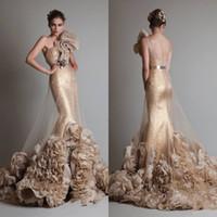vestidos de novia sexy al por mayor-Envío Gratis Lujoso Oro Sexy Sin Mangas Un Hombro Sirena / Trompeta Zuhair Murad Boda / Novia / Vestidos de Baile Con Flor Y Faja