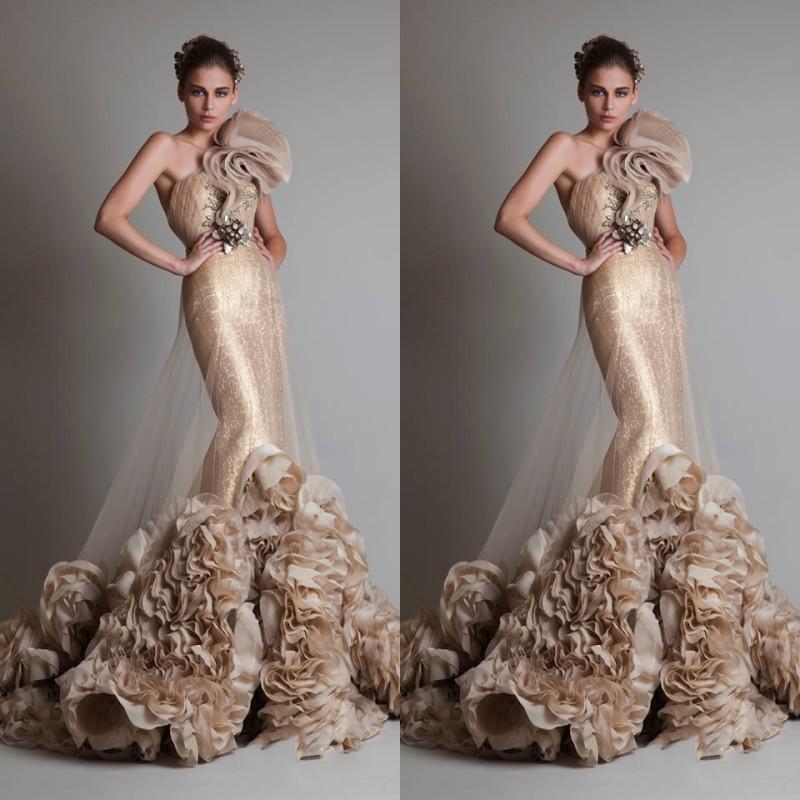 Gratis frakt lyxig sexig guld ärmlös en axel sjöjungfru / trumpet zuhair murad bröllop / brud / prom klänningar med blomma och sash