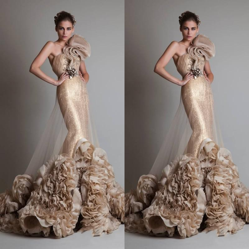 Luxurious Sexy Gold Sleeveless One Shoulder Mermaid /Trumpet Zuhair Murad Wedding/Bridal/Prom Dresses With Flower And Sash