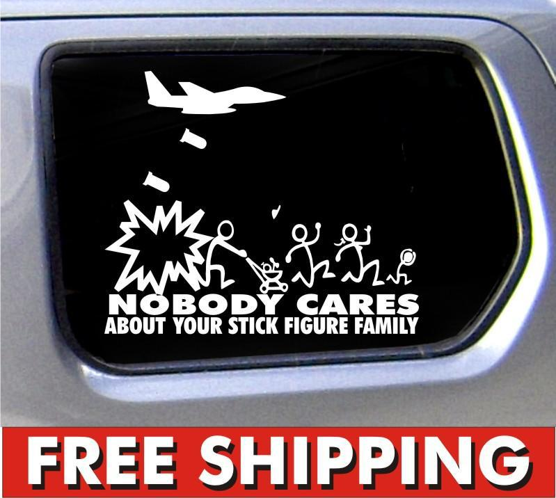 Wholesale Stick Figure Family Nobody Cares Jet Fighter funny stickers car decal bumper