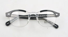 Wholesale drop ship glasses frame sz L M S Black and white color in one half black and half trasparent color glasses frame freeshipping