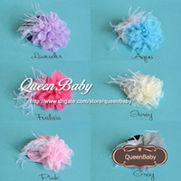 Wholesale Clip Top Hat Wholesale - Trial Order Mini Top Hat Hair Clip with Big Mesh Flower and White Feather 20pcs lot QueenBaby