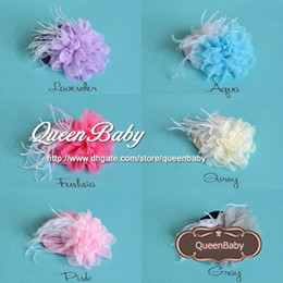 Wholesale Headband Feather Big Flower - Trial Order Mini Top Hat Hair Clip with Big Mesh Flower and White Feather 20pcs lot QueenBaby