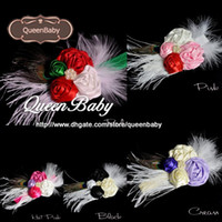 Wholesale White Peacock Feather Baby Headband - Trial Order Baby Christmas Headband Rolled Satin Rosette Headband and white feather peacock tail Photography Prop 10pcs lot