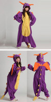 Wholesale Cheap Japanese Cosplay - Hot Sale New Lovely Cheap Kigurumi Pajamas Anime Purple Dinosaur Cosplay Costume Unisex Adult Onesie Purple Dress