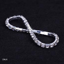 Wholesale Ladies Wristbands - ZAU1 1 Row Silver Plated Crystal Rhinestone Shiny Stretch Fashion Women Lady Bracelet Bangle Wristband Jewelry Fashion Gift Fit Party