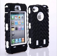 Wholesale Iphone5c Hard - 3 in 1 Tire Robot Hybrid Hard plastic PC Silicone Soft Case Cover Skin for iphone 4 4S 5 5S 5C iphone5C mix order free shipping