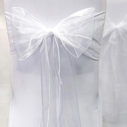 """Wholesale Organza Sashes Decor - Tracking Number-25pcs White Color 8"""" (20cm) W x 108"""" (275cm) L Organza Chair Sashes Wedding Party Banquet Decor+Free Shipping"""