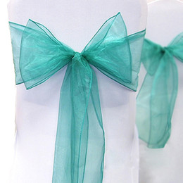 """Wholesale Teal Blue Organza Chair Sashes - Tracking Number-25pcs Teal Blue Color 8"""" (20cm) W x 108"""" (275cm) L Organza Chair Sashes Wedding Party Banquet Decor+Free Shipping"""