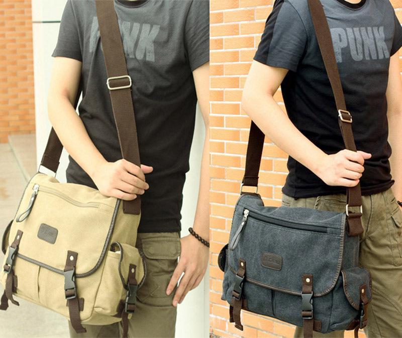 Men'S Fashion Canvas Vintage Crossbody Satchel Hand Bag Shoulder ...