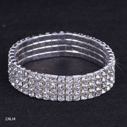 Wholesale Row Stretch Rhinestone Bracelet Crystal - ZAU4 4 Row Silver Plated Crystal Rhinestone Shiny Stretch Fashion Women Lady Bracelet Bangle Wristband Jewelry Fashion Gift Fit Party