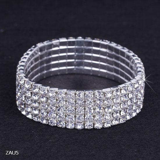 ZAU5 5 Satır Gümüş Kaplama Kristal Rhinestone Parlak Streç Moda Kadınlar Lady Bilezik Bileklik Bileklik Takı Moda Hediye Fit Parti