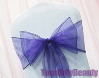 """Wholesale Wholesale Banquet Items - Hot item -Free shipping-50pcs Purple Color 8"""" (20cm) W x 108"""" (275cm) L Organza Chair Sashes Wedding Party Banquet Decor+Free Shipping"""
