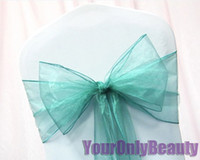 "Wholesale Wholesale Banquet Items - Hot item -Tracking Number-50pcs Teal Blue Color 8"" (20cm) W x 108"" (275cm) L Organza Chair Sashes Wedding Party Banquet Decor+Free Shipping"