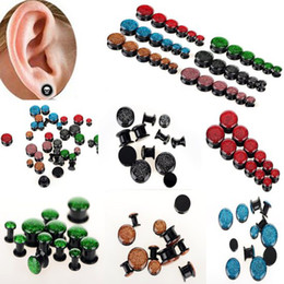 Wholesale Ear Plug Screw - Ear Jewelry 24X Flash Acrylic Ear Tunnels Expander Screw Plugs Earlets Gauges New [BC105(12)*2]