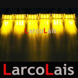 Feuer blinkende notfall led leuchtet online-LarcoLais Blau Bernstein Rot Weiß Grün 6x3 LED Feuer Blinkt Blitz Strobe Notfall Auto Lichter Kit