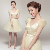 Wholesale Bridemaid Organza Dresses - 2013 V-Neck Cap Sleeve Bridemaid Dress A Line Knee Length Ruffle Lace-up Organza Wedding Party Dress