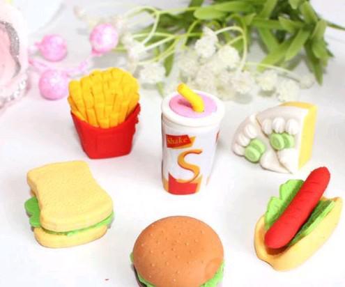 Livre EMS DHL Criativo 3D Hamburgar Chips Coka Cola Bolos Alimentos Borrachas Borracha 3D Lápis Eraser Presente de Natal Cada Um Com Saco de Opp