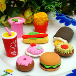 FreeShip 100pcs Creative 3D Hamburgar Chips Coka Cola Cakes Food Erasers 3D Rubber Pencil Eraser Xmas Gift Each One With Opp Bag