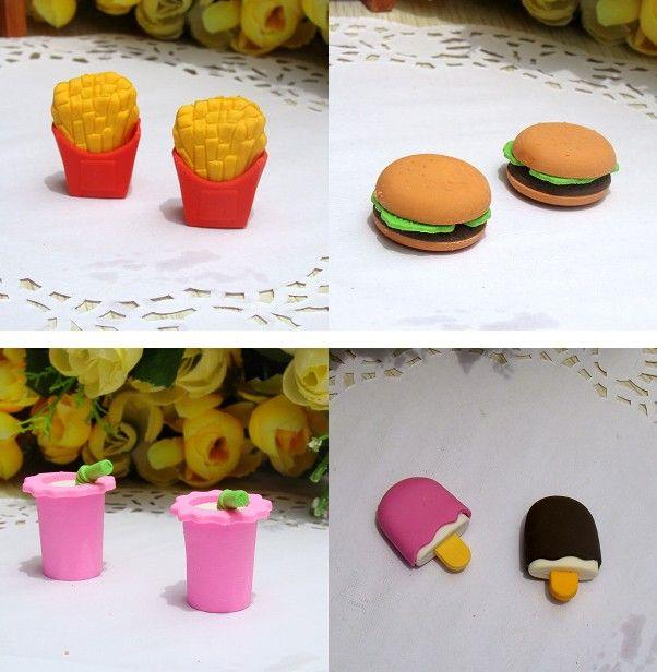 Freeship 크리 에이 티브 3D 햄 루르 칩 Coka Cola Cakes 음식 지우개 3D 고무 연필 지우개 Xmas 선물 OPP 가방을 가진 각 하나
