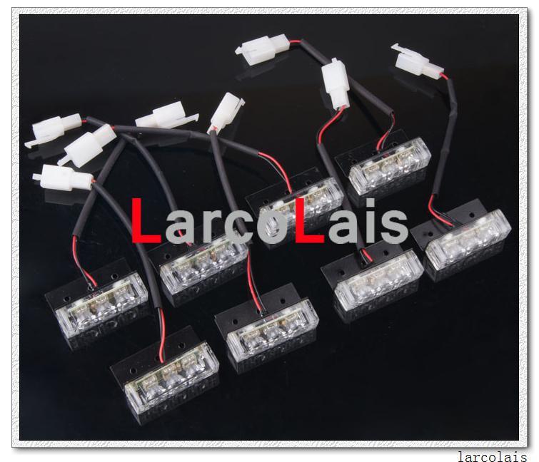 8x3 결합 조합은 호박색 백색 24 LED 스트로브 경고 차 트럭 번쩍이는 빛 소방관을 착색합니다