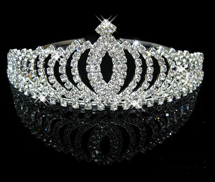 Vente en gros - 2013 En stock Royal Couronnes Cristaux Brillants Réel Échantillon De Mariage Mariage Tiara Diadèmes Accessoires de cheveux