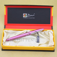 Wholesale Picasso Rollerball Pen - Hot Sale Picasso 608 Purple and Silver Crystal on Clip Rollerball Gift Metal Ballpoint Pen 0.7MM Original Box Free Shipping Pens