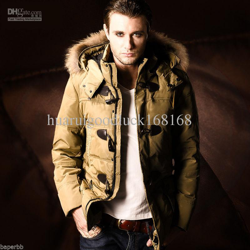 2018 New Mens 90% Duck Down Jacket Fur Hooded Thicken Parka Med ...