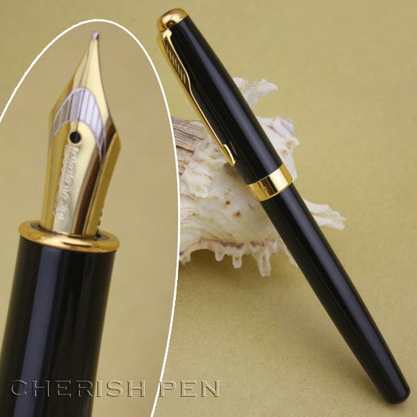 Großhandel Baoer 388 Executive Schwarz und Golden Glatte Pfeil Clip M Nib Tinte / stahl / Marke / Metall / Geschenk / füllfederhalter Kostenloser versand