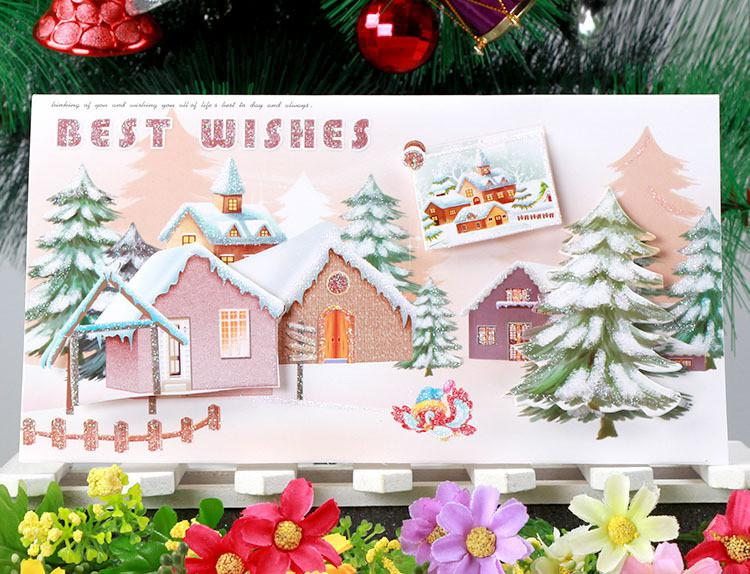 Big Size 120x215 Cm Snow And House 3d Handmade Christmas – Size of Birthday Card