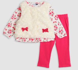 Wholesale Jacket Style Blouses - Kids' Autumn Winter Jacket Children's clothing outfits blouse+waistcoat+pant baby girls overall baby clothing set princess set
