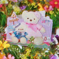 Wholesale bear christmas cards - 9.5X8.5CM bears mini cards Christmas greeting card 15 pattern christmas gift card (cards with opp hangtag)pack birthday cards CA7