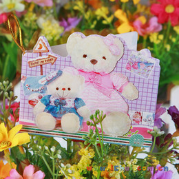 Wholesale Greeting Card Packs - 9.5X8.5CM bears mini cards Christmas greeting card 15 pattern christmas gift card (cards with opp hangtag)pack birthday cards CA7