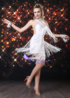 Wholesale Tassel Dance - New Latin dance fashion show clothing and practice skirt women adult dress wear hanging coins paragraph