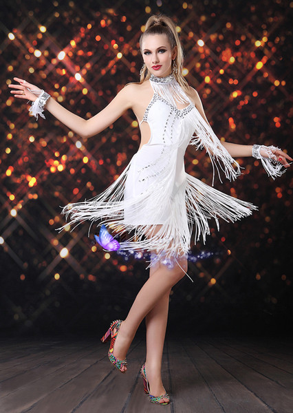top popular New Latin dance fashion show clothing and practice skirt women adult dress wear hanging coins paragraph 2019