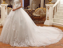 Wholesale Swarovski Cathedral Dress - 2014 Newest Luxury Bride Dress Sweetheart Swarovski Crystals Applique Bead Cathedral Cheap Sheer Vintage Wedding Dresses
