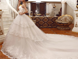 Wholesale Swarovski Beaded Wedding Dresses - New Strapless Flowers Applique Embroidery Beaded Lace Swarovski Crystals 2014 Sexy Luxury Cathedral Cheap Sheer Vintage Wedding Dresses