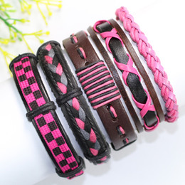 Wholesale China Traditional Girl - F86-free shipping (5pcs lot) lovely pink bangles tribal ethnic handmade braided wrap leather bracelet for women&girl