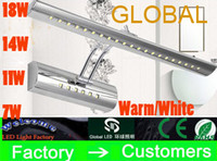 Wholesale Vanity Mirror Lights Bulbs - Vanity lights mirror light makeup shaking his head lamp 7W 11W 14W 18W Warm White steel bathroom bulb with switch New Arrival On Sale