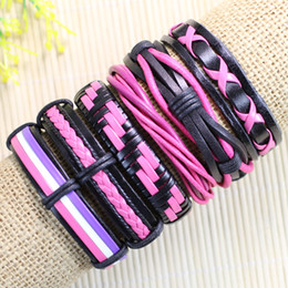 Wholesale Pink Tribal - Free shipping wholesale jewelry set (6pcs lot) ethnic tribal handmade charm leather bracelets pink bangles for women&girl -D26