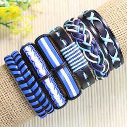 $enCountryForm.capitalKeyWord NZ - Free shipping wholesale handmade bangles(6pcs lot)ethnic tribal genuine adjustable blue jewelry leather bracelet for gifts - D02