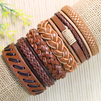Wholesale Wholesale Fashion Tribal - Free shipping wholesale (6pcs lot)handmade fashion tribal genuine adjustable light brown jewelry braid leather bracelet - D15