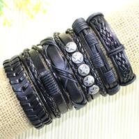 Wholesale Tribal Beads Wholesale - Free shipping wholesale handmade bead bangles (6pcs lot)ethnic tribal genuine adjustable leather bracelet for man&women-D46