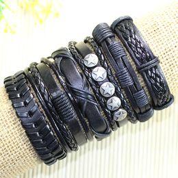 Wholesale Ethnic Charms Beads - Free shipping wholesale handmade bead bangles (6pcs lot)ethnic tribal genuine adjustable leather bracelet for man&women-D46