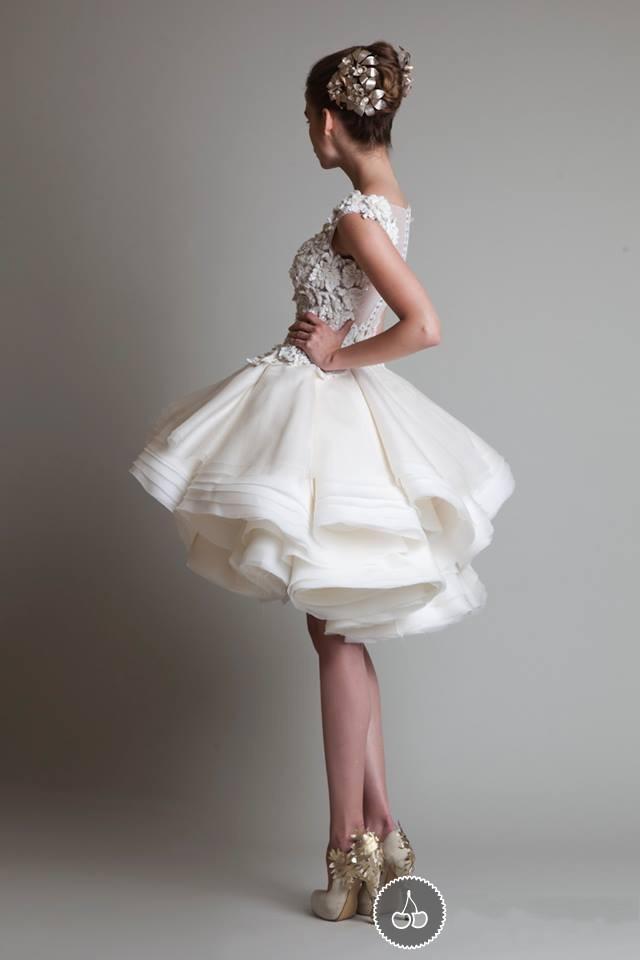 Sexy immagine reale carino breve abito da ballo in organza di seta Zuhair Murad Prom / sera / abiti da sposa con scollo rotondo e applicazione di mano applique