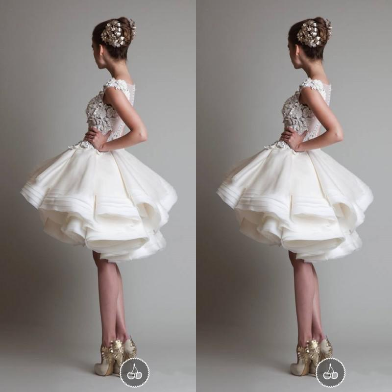 Sexy Cute Real Picture Short Ball Gown Silk Organza Zuhair Murad Prom/Evening/Wedding Dresses With Scoop Neckline And Applique Hand Working