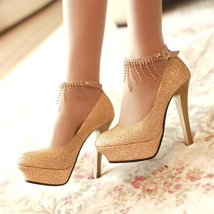 gold shoes wedding bridal accessories high heeled wedding shoes silver gold 4539