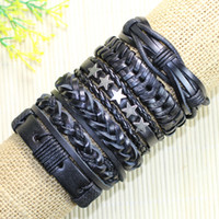 Wholesale Tribal Bracelets For Men - Free shipping trendy bangels Wholesale (6pcs lot) rock black ethnic tribal genuine adjustable leather bracelet for men -D71
